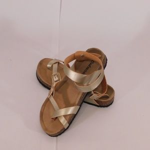 Outlands Gold Sandals with rose gold buckle size 8